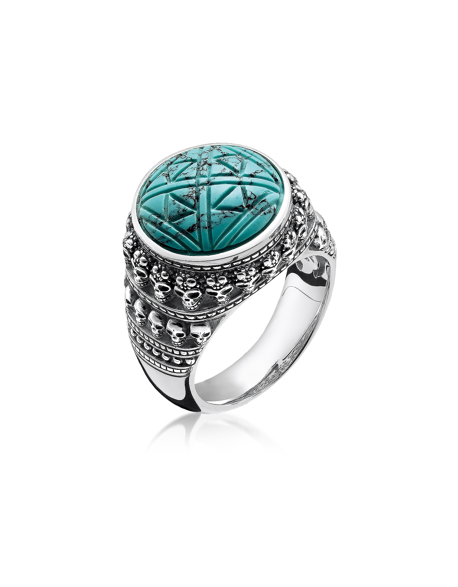 Thomas Sabo Rings, Blackened 925 Sterling Silver Ethnic Skulls Turquoise Ring