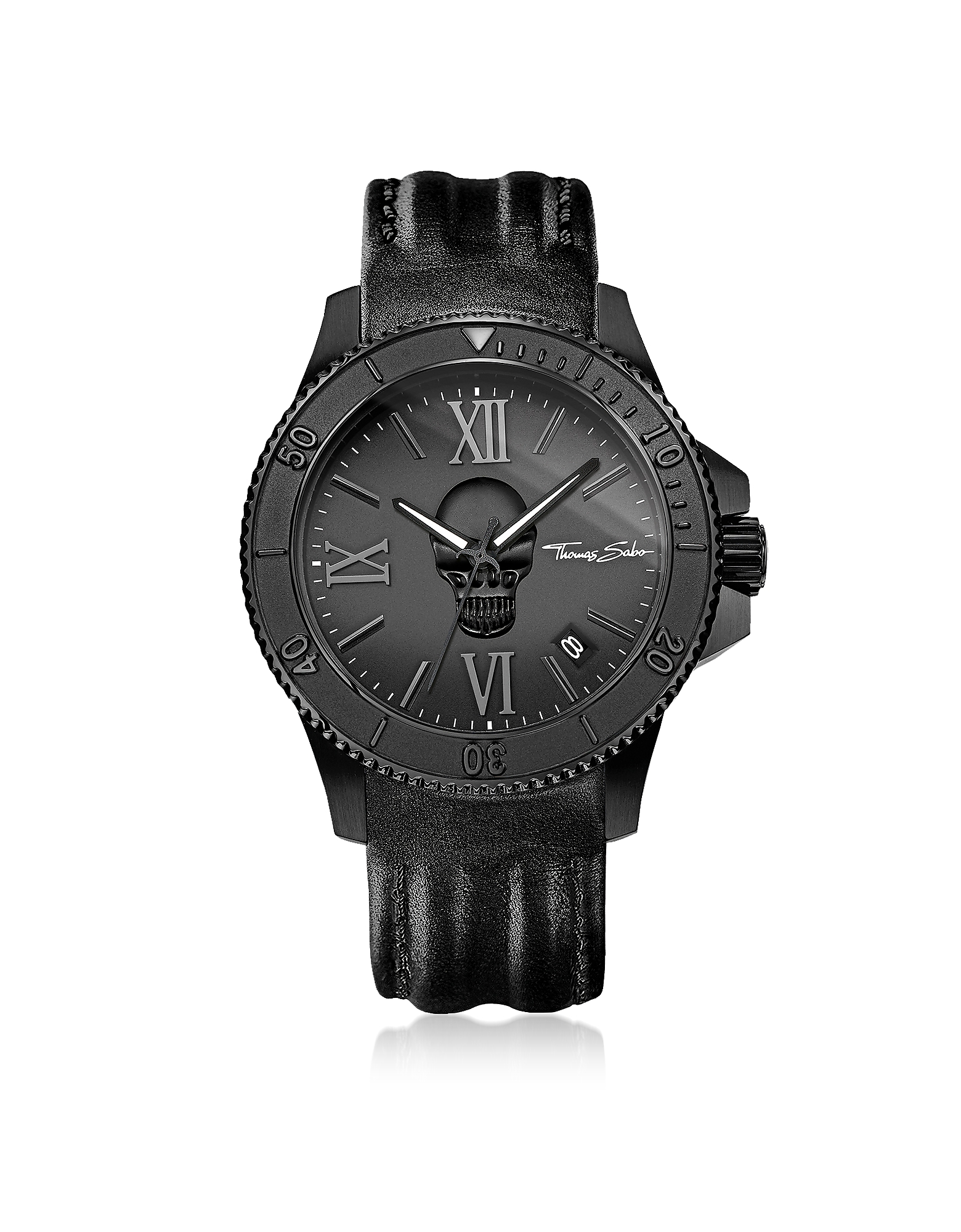 Thomas Sabo Men's Watches, Rebel Icon Black Stainless Steel Men's Watch w/Leather Strap