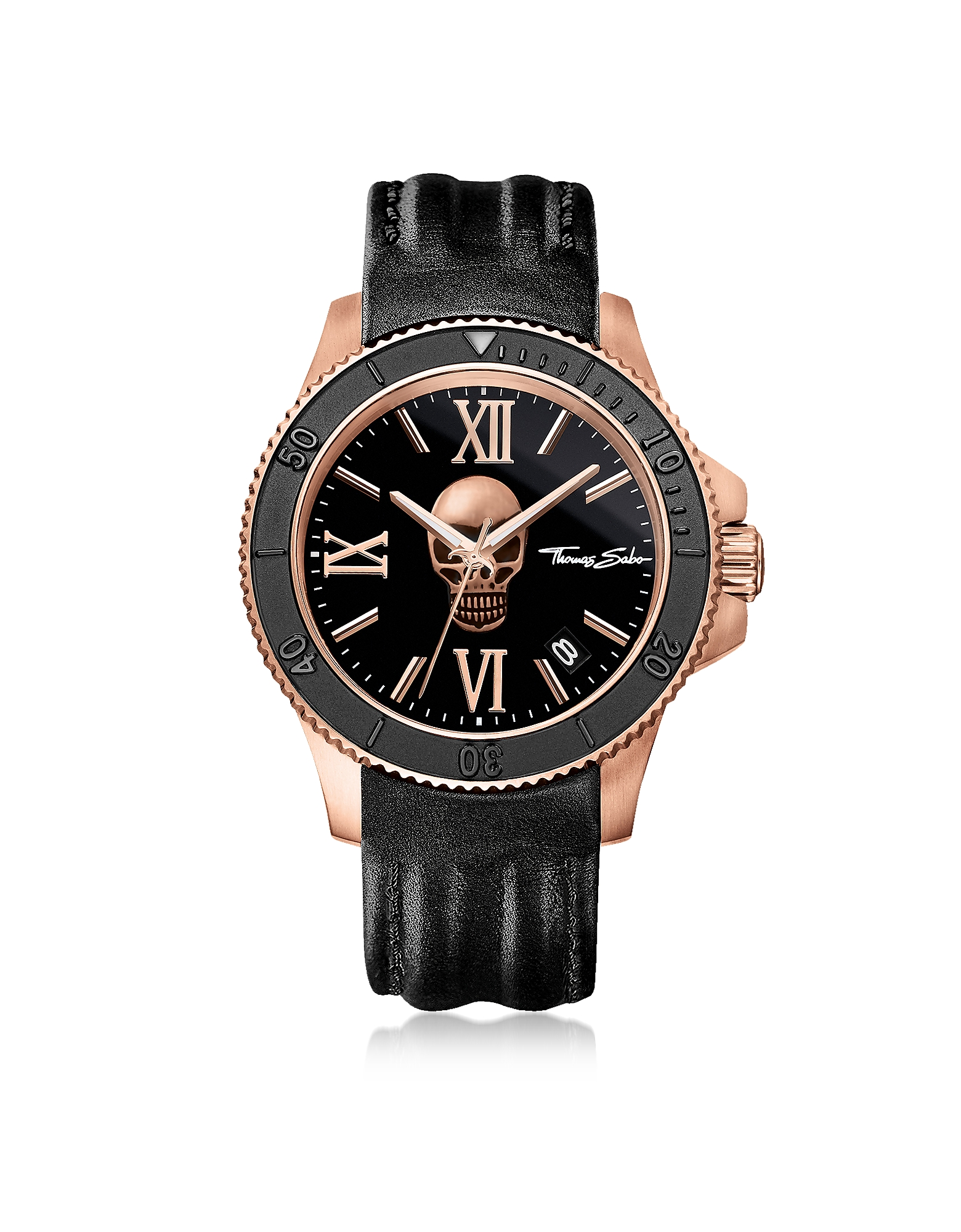 Thomas Sabo Men's Watches, Rebel Icon Rose Gold Stainless Steel Men's Watch w/Black Leather Strap