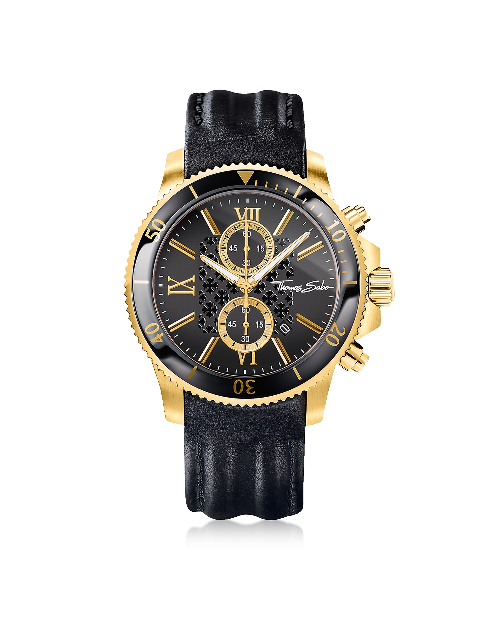 Thomas Sabo Men's Watches, Rebel Race Gold Stainless Steel Men's Chronograph Watch w/Black Leather S