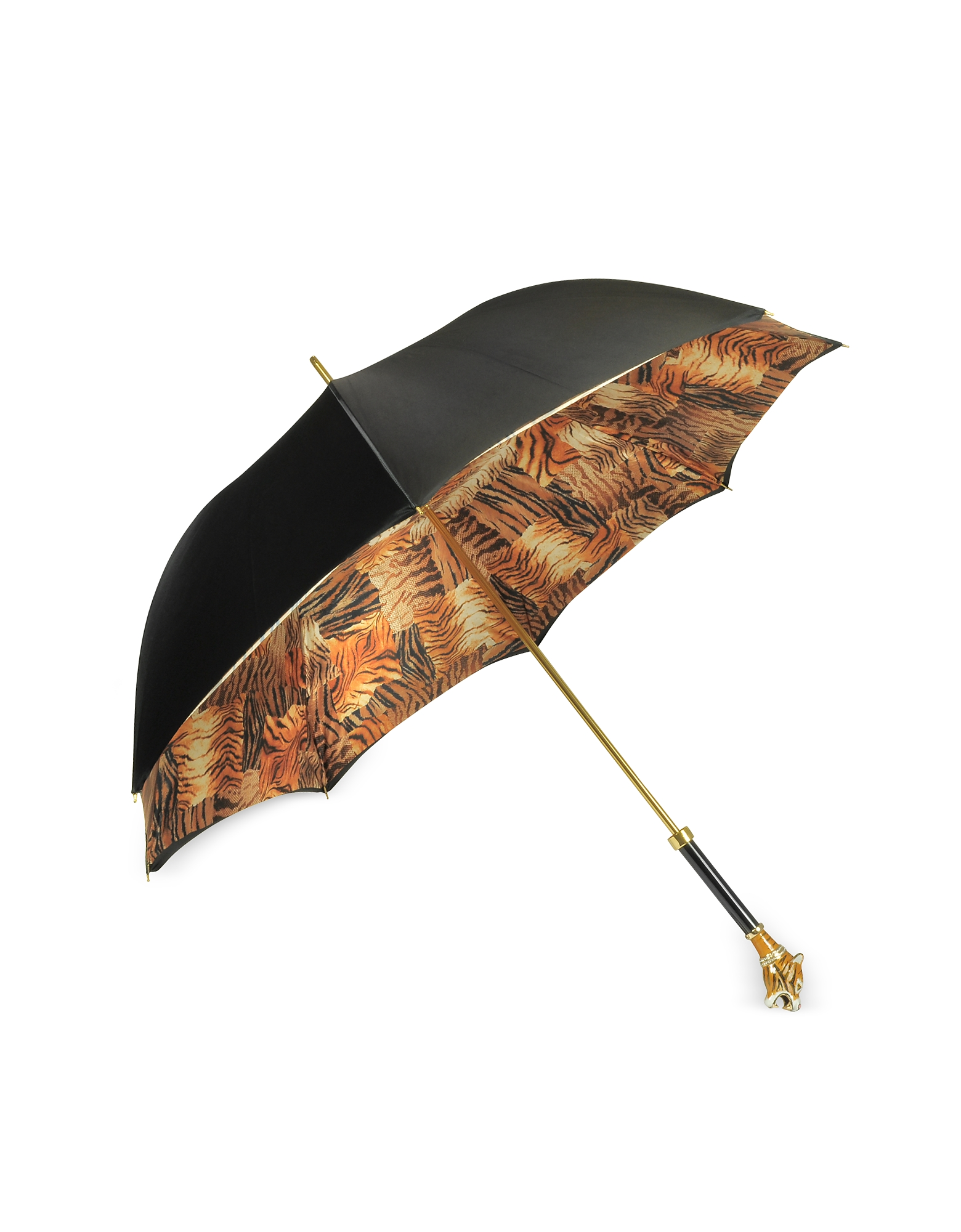 Black/Animal Print Women's Umbrella w/Siberian Tiger Handle от Forzieri.com INT