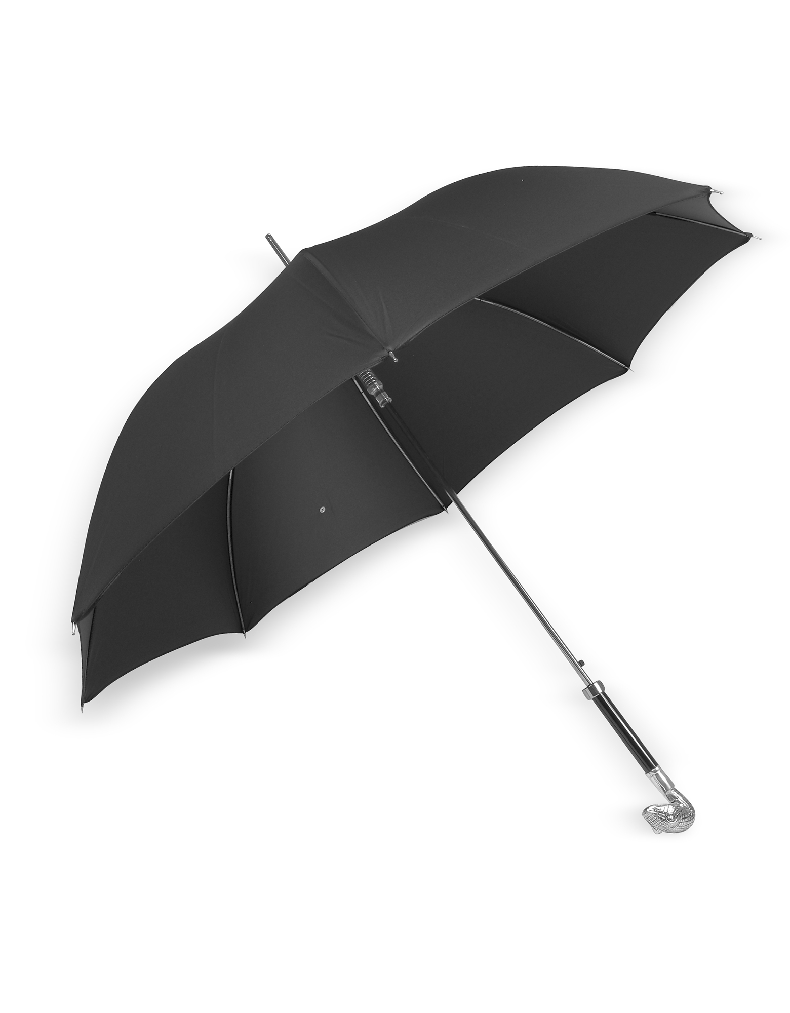 Black Unisex Umbrella w/Silvertone Snake Head Handle от Forzieri.com INT