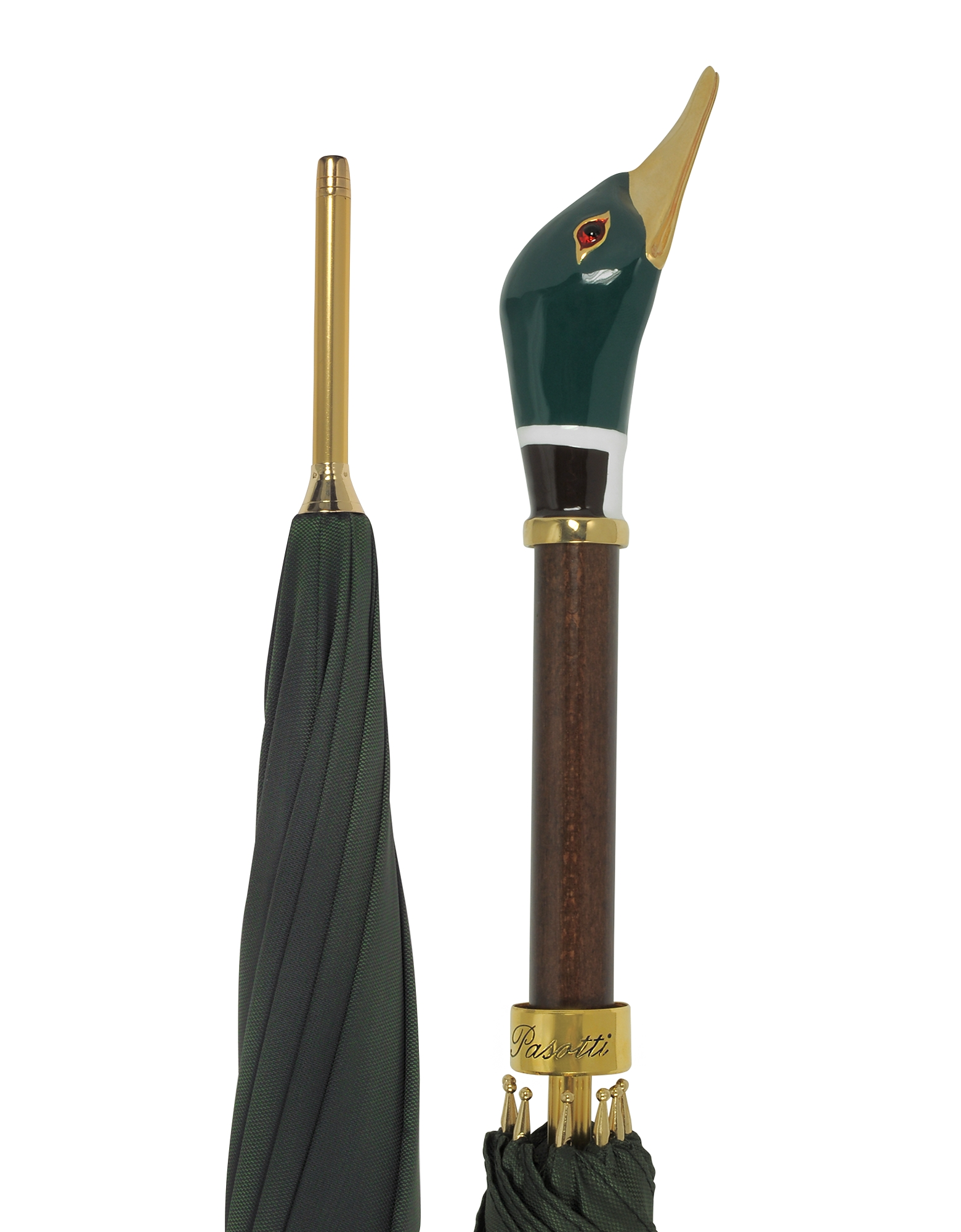 Pasotti Umbrellas, Green Men's Umbrella w/Mallard Handle