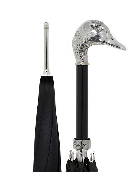Pasotti Parapluie Unisexe en Polyester Noir avec Poignée Colvert