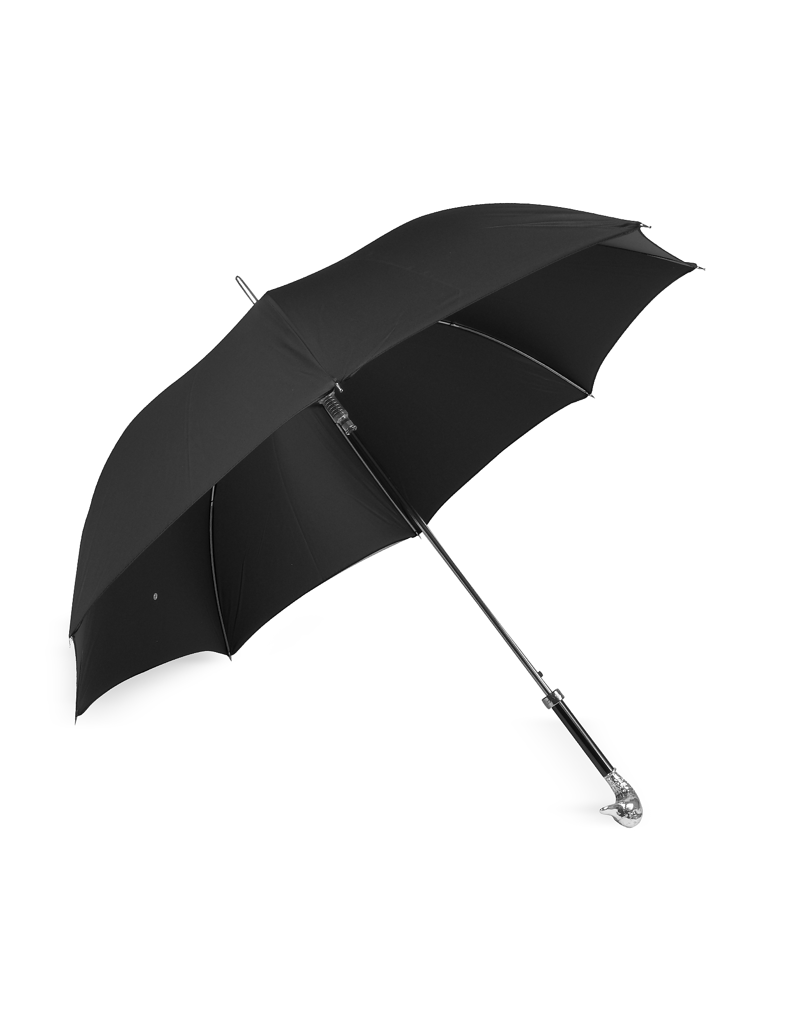 Black Unisex Umbrella w/Silvertone Mallard Handle от Forzieri.com INT