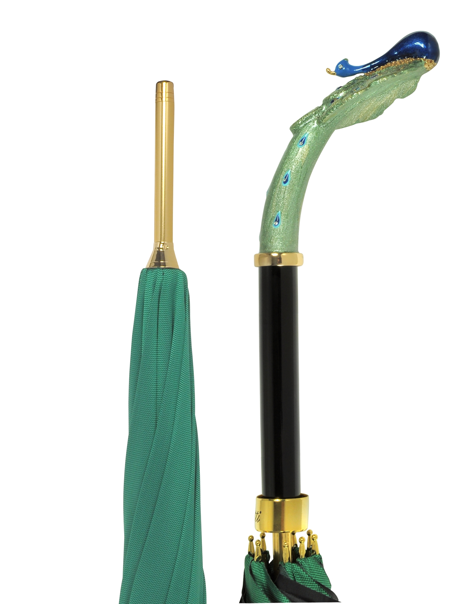 Pasotti Umbrellas, Green/Animal Print Women's Umbrella w/Luxury Peacock Handle