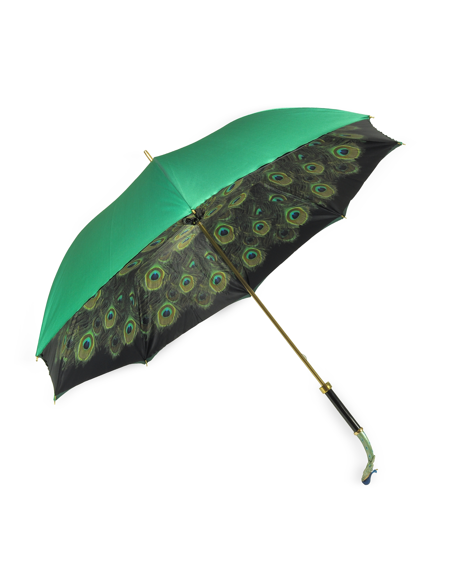 Green/Animal Print Women's Umbrella w/Luxury Peacock Handle от Forzieri.com INT