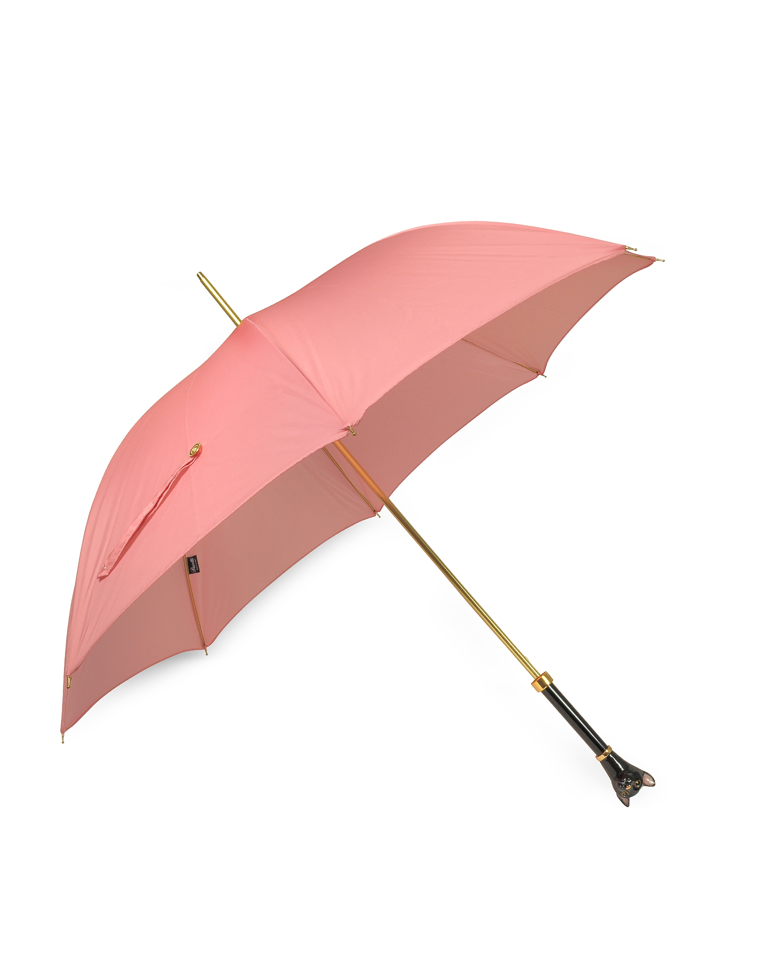 Pink Women's Umbrella w/Black Cat Handle от Forzieri.com INT
