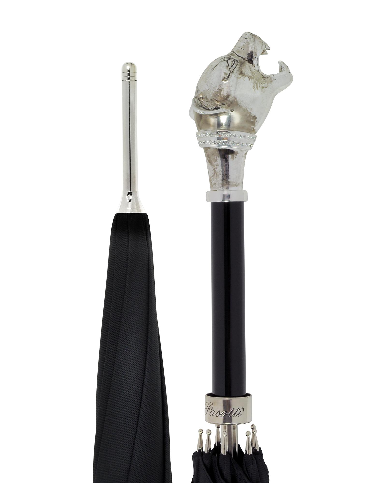 Black Women's Umbrella w/Silvertone Panther Handle