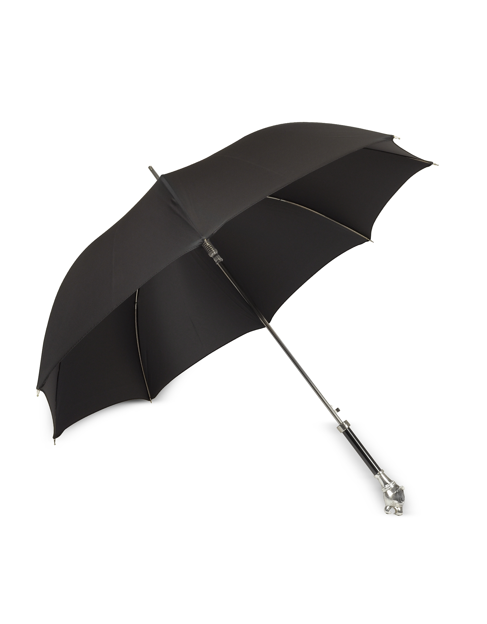 Black Women's Umbrella w/Silvertone Panther Handle от Forzieri.com INT
