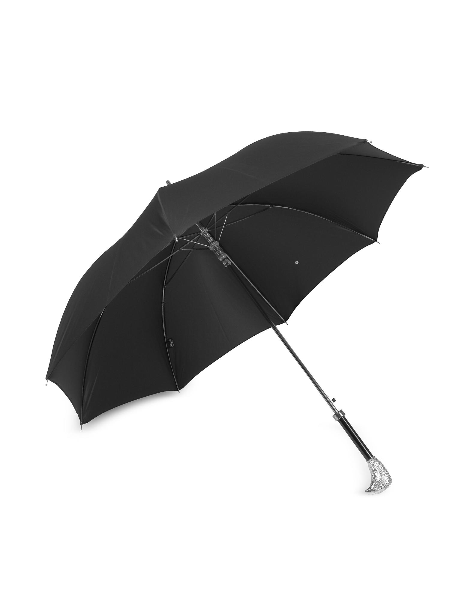 Black Unisex Umbrella w/Silvertone Eagle Handle от Forzieri.com INT