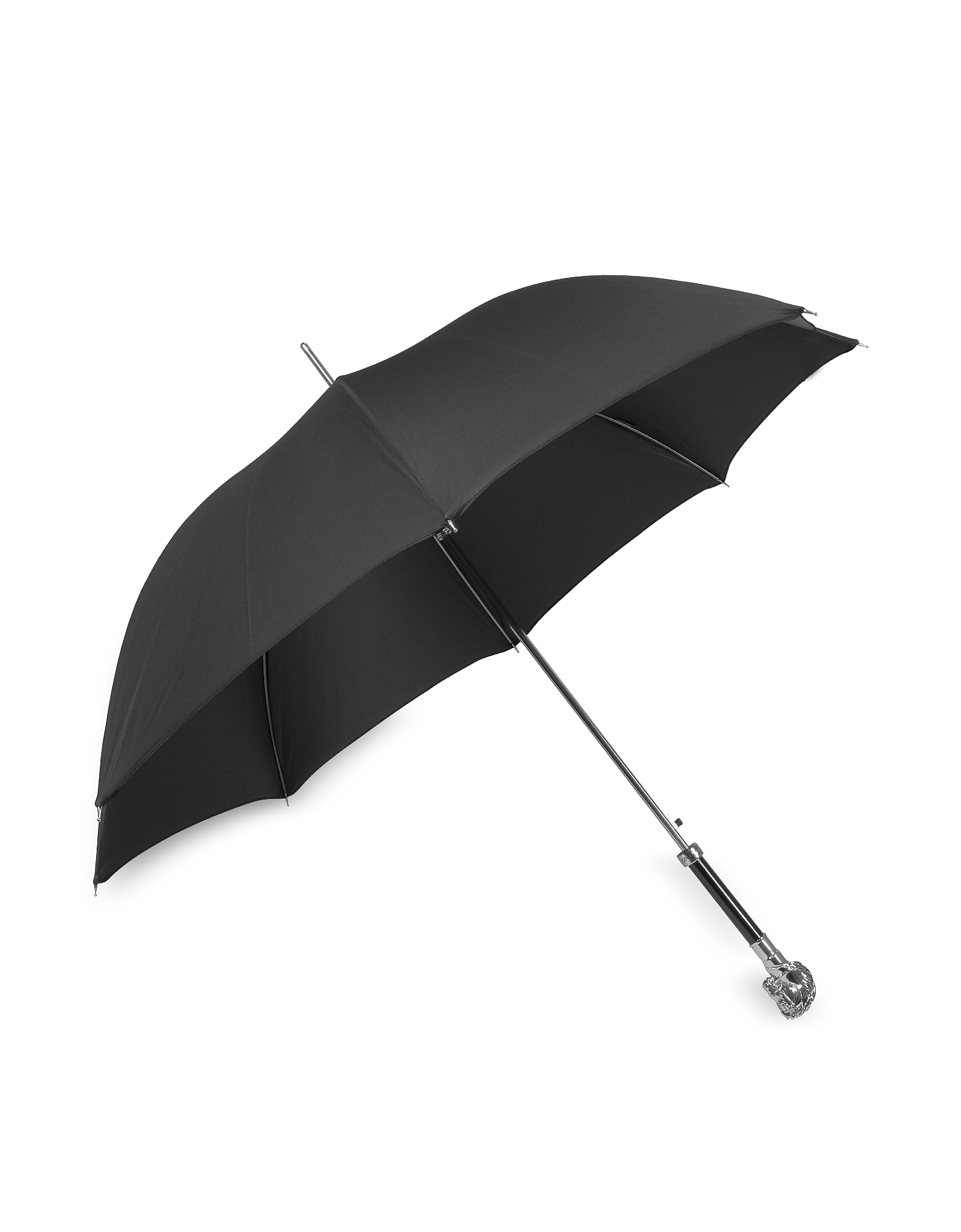 Black Unisex Umbrella w/Silvertone Horse Handle от Forzieri.com INT