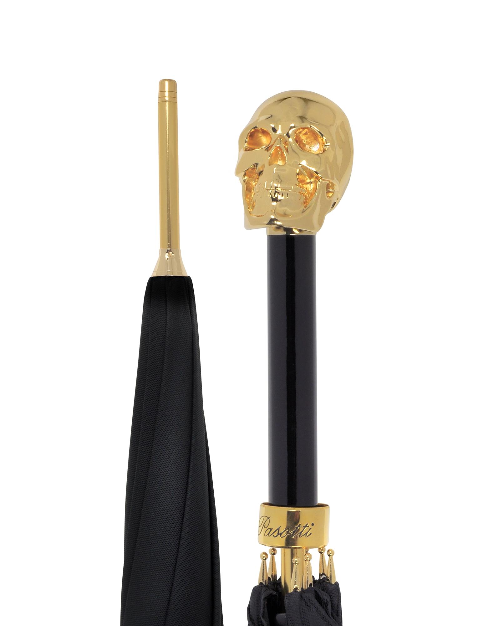 Teschio Ombrello Unisex Nero e Oro
