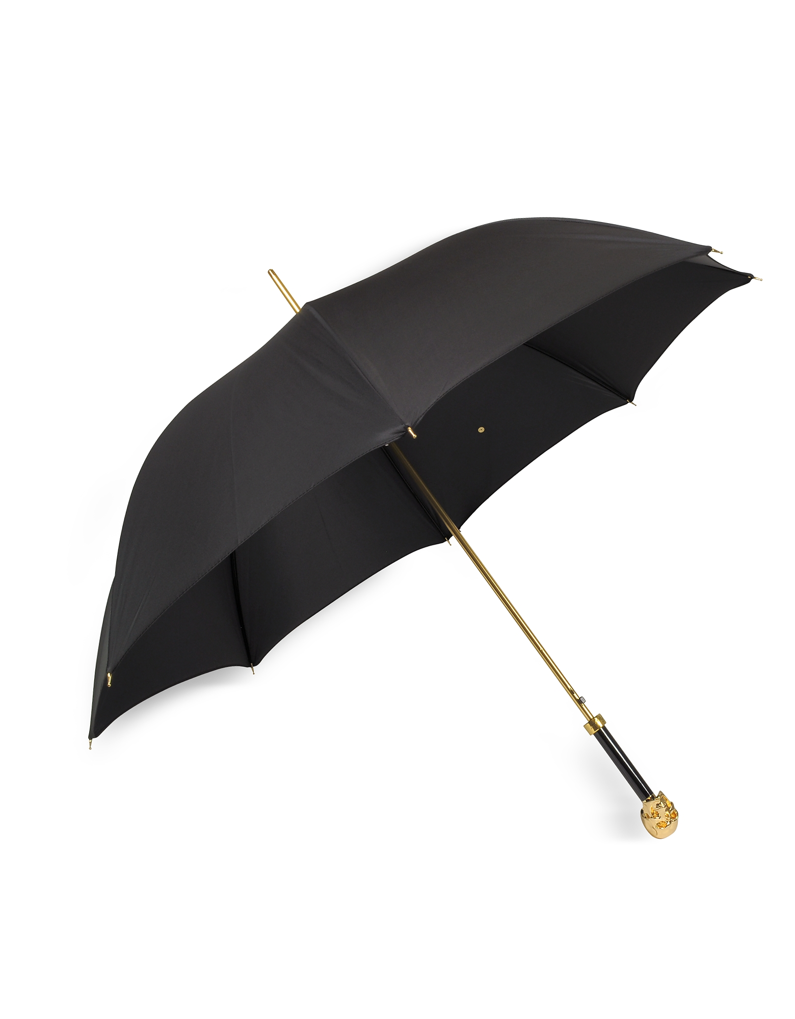 Black Unisex Umbrella w/Goldtone Skull Handle от Forzieri.com INT