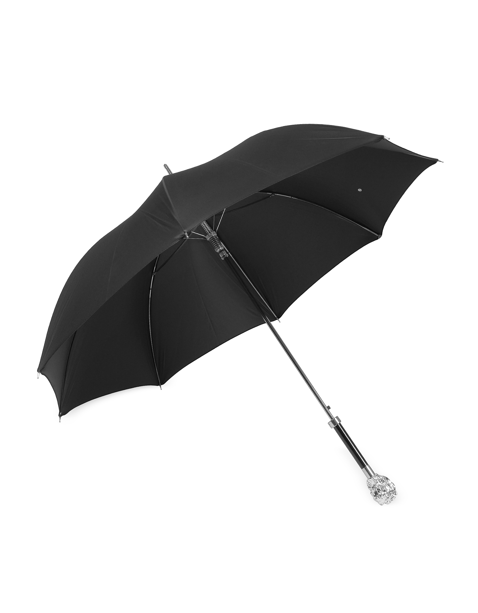 Black Unisex Umbrella w/Silvertone Lion Handle от Forzieri.com INT