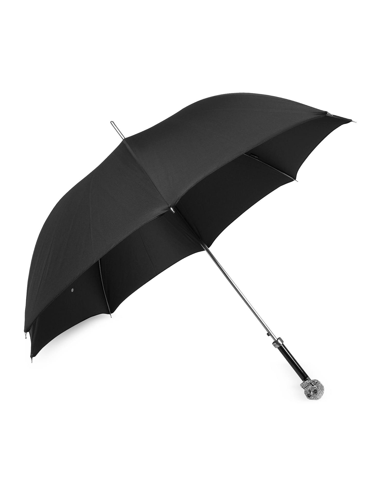 Black Women's Umbrella w/Swarovski Crystals Silvertone Skull Handle от Forzieri.com INT