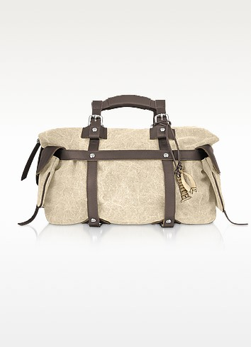 Canvas and Leather Satchel Bag - Tuscan's