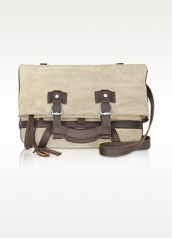 Canvas and Dark Brown Leather Tote Bag - Tuscan's