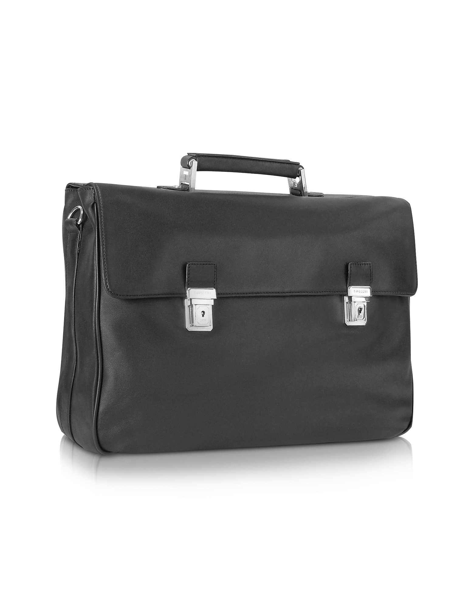 Tavecchi Briefcases, Polo - Black Double Gusset Nappa Leather Briefcase