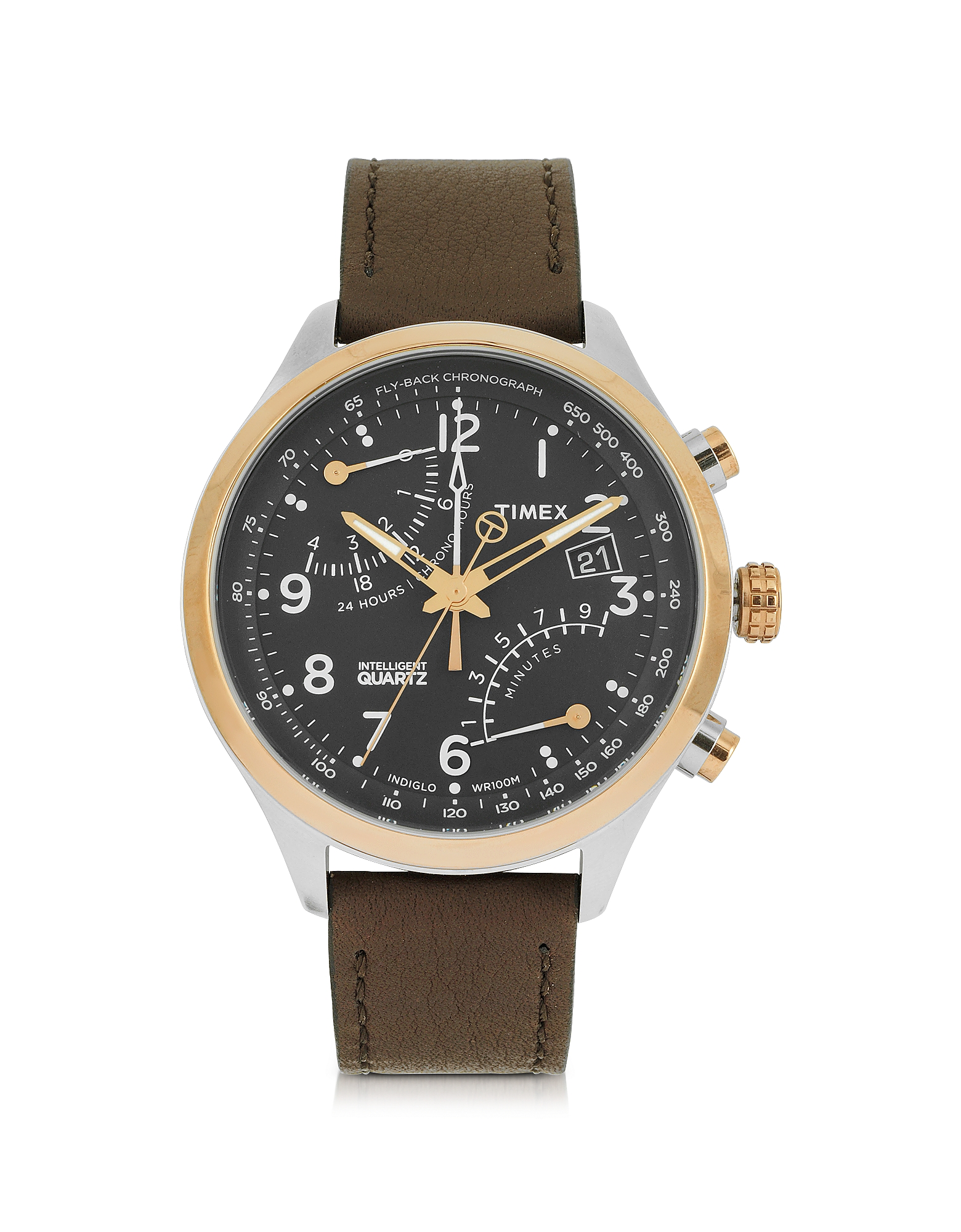 Timex Men's Watches, Fly Back Chrono Stainless Steel Case and Leather Strap Men's Watch