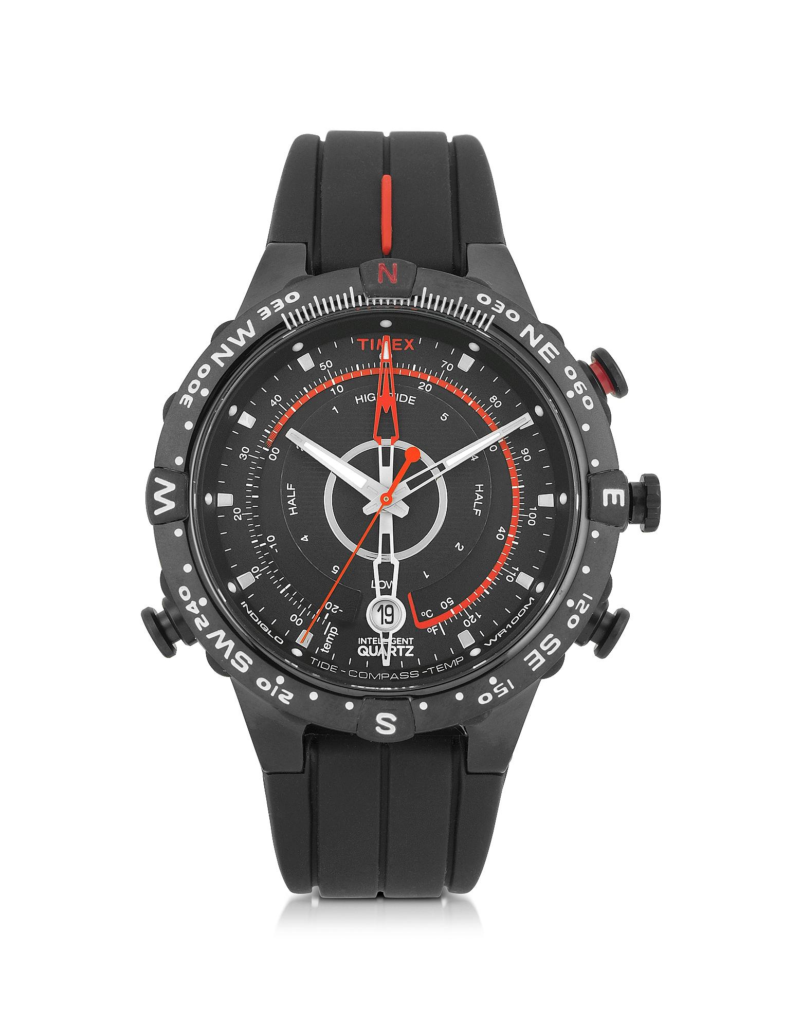 Timex Tide-Temp Compass - Черные Мужские Часы с Корпусом из Нержавеющей Стали с Силиконовым Ремешком