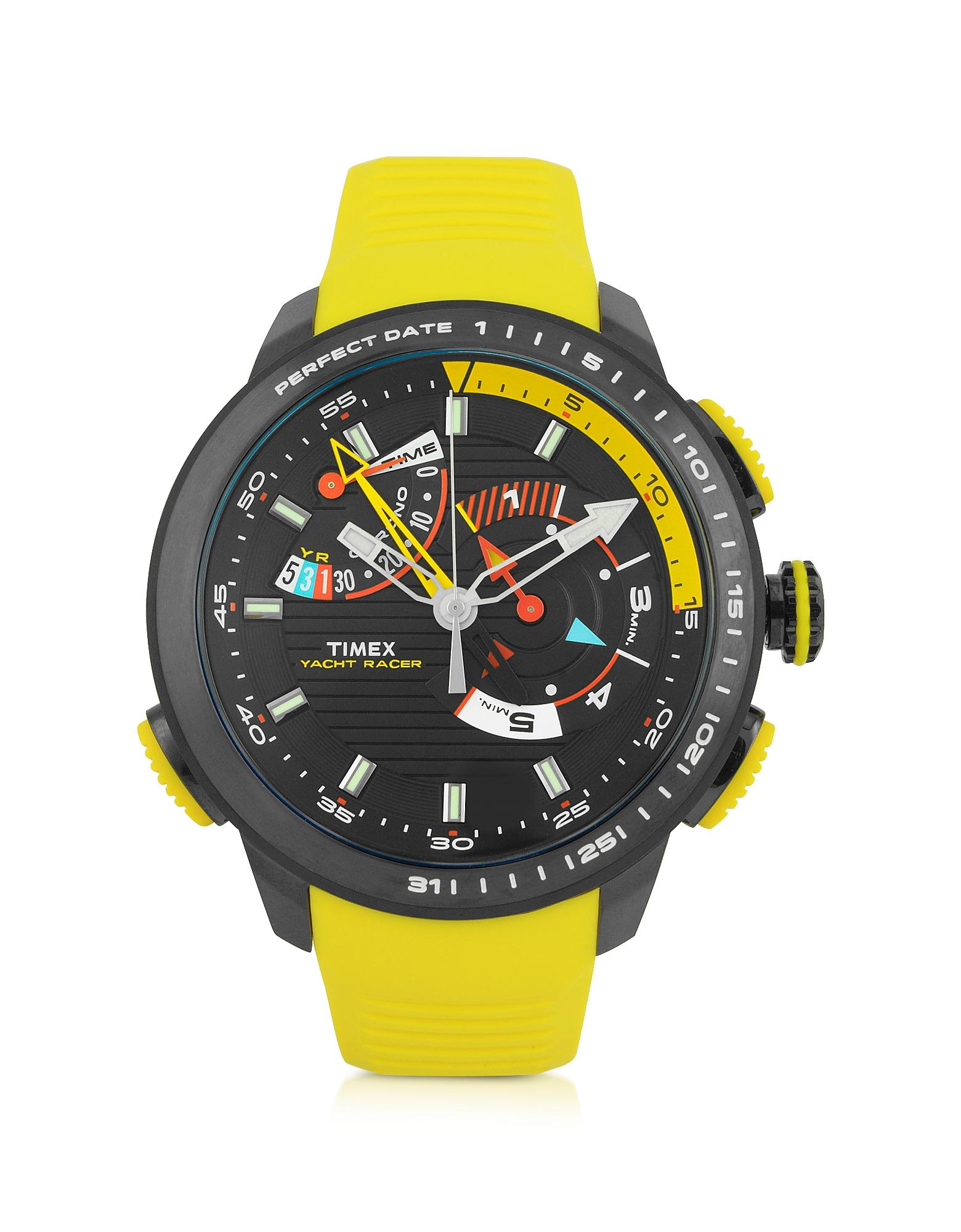 Yacht Racer - Черные Мужские Часы Хронограф с Корпусом из Нержавеющей Стали с Желтым Силиконовым Ремешком