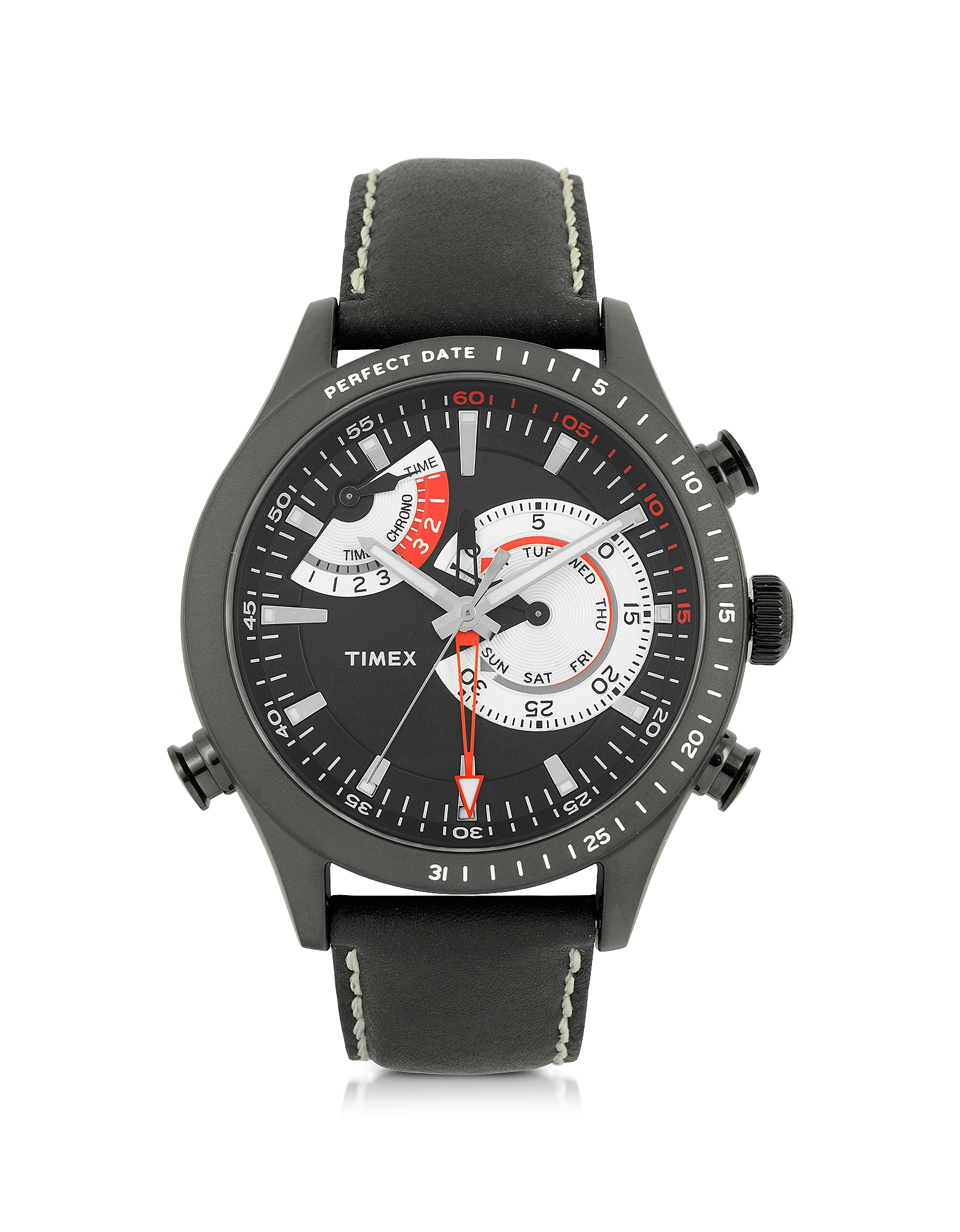 Timex Men's Watches, Chrono Timer Black Stainless Steel Case and Leather Strap Men's Watch