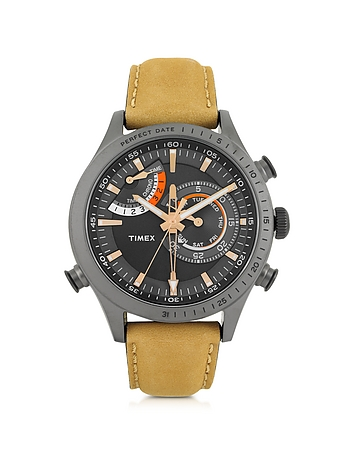 Timex - Chrono Timer Gray Stainless Steel Case and Tan Leather Strap Men's Watch