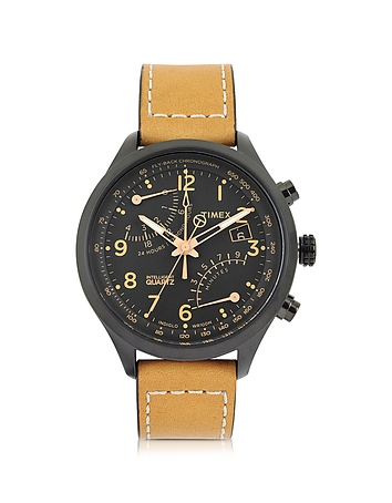 Timex - Fly Back Chrono Black Stainless Steel Case and Tan Leather Strap Men's Watch