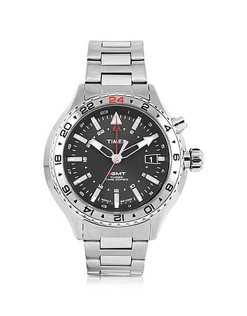 Timex - 3-GMT Silver Tone Stainless Steel Men's Bracelet Watch
