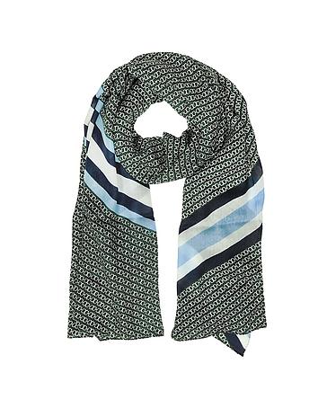 Tory Burch - Gemini Link Striped Oblong Wool Scarf