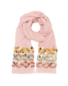 Pink Blossom Embellished Oblong Wool Scarf w/Fringes - Tory Burch