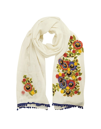 Tory Burch - New Ivory and Multi Floral Avalon Embellished Oblong Wool Scarf w/Pom-Pom
