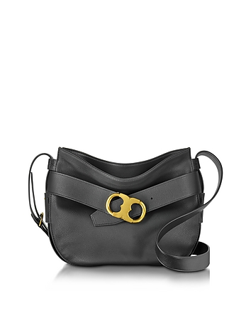 Gemini Link Belted Black Leather Small Hobo
