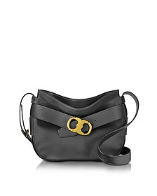 Gemini Link Belted Black Leather Small Hobo - Tory Burch