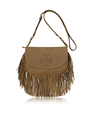 Harper Fringe Otter Brown Leather Mini Crossbody Bag