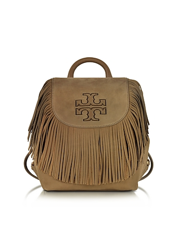 Tory Burch - Harper Fringe Otter Brown Nubuk Mini Backpack