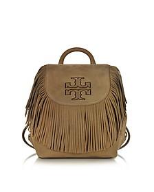 Harper Fringe Otter Brown Nubuk Mini Backpack - Tory Burch