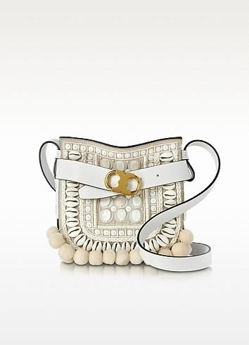 Gemini Link New Ivory Suede and Leather Small Crossbody Bag w/Pom-Pom - Tory Burch