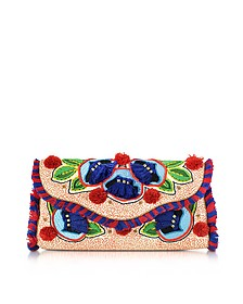 Embroidered Floral Canvas Flap Clutch - Tory Burch