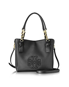 Harper Black Leather Small Satchel Bag - Tory Burch