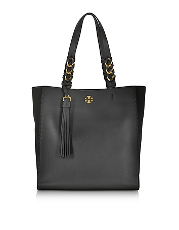 Brooke Black Leather Tote Bag w/Suede Trims ty130118-002-00