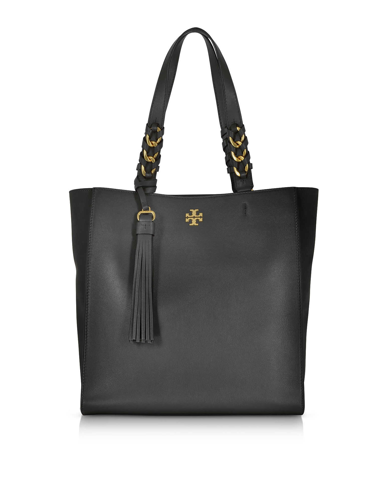 Tory Burch Handbags, Brooke Black Leather Tote Bag w/Suede Trims
