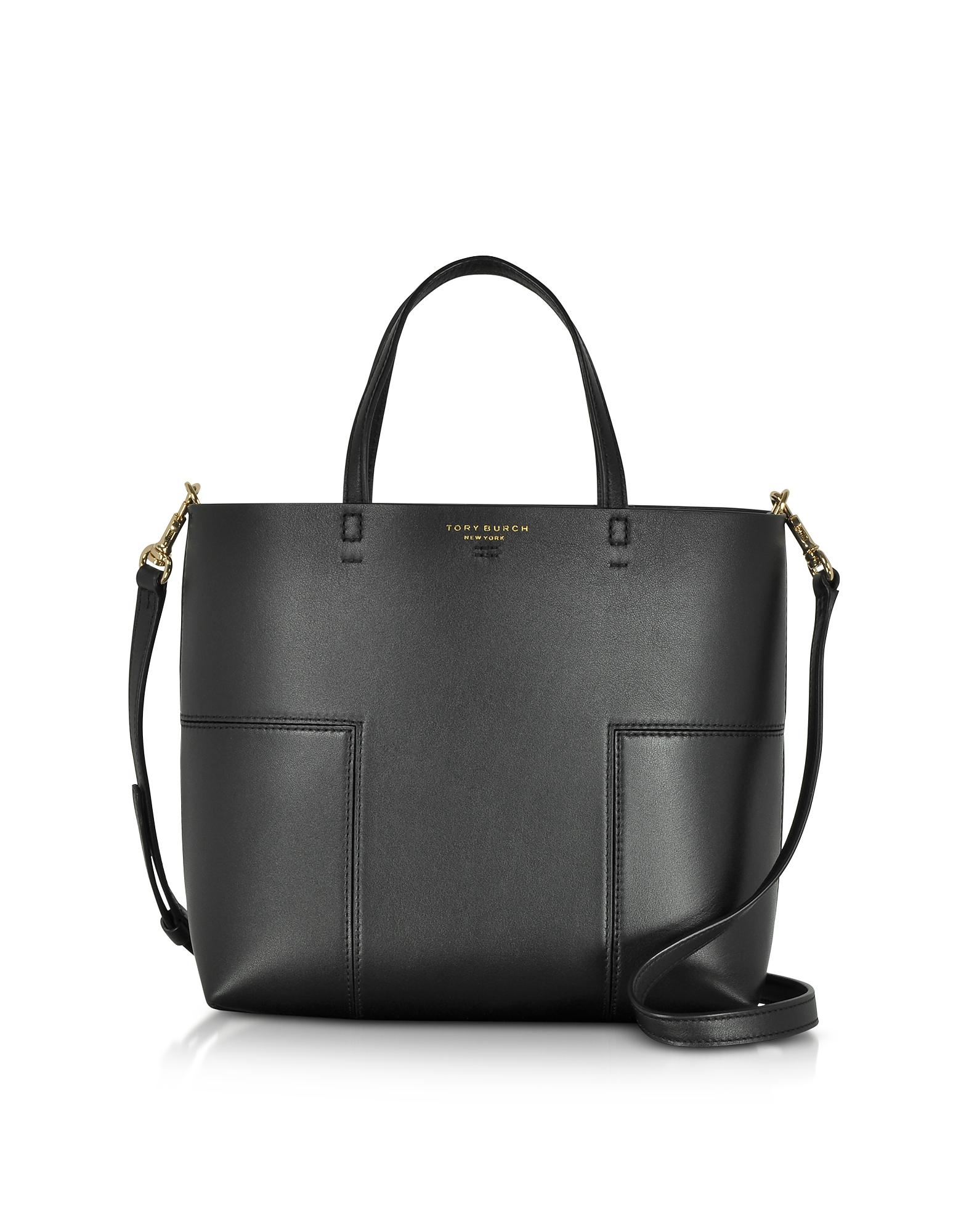 Tory Burch Handbags, Block-T Black Leather Mini Tote Bag