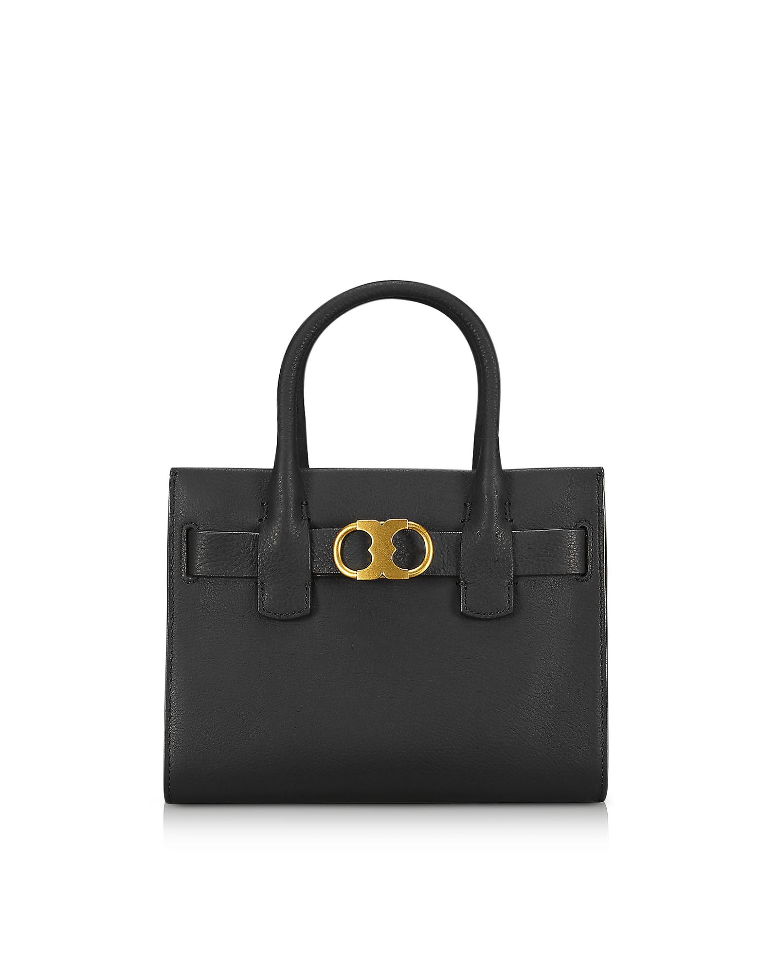 Tory Burch Handbags, Gemini Link Black Leather Small Tote Bag