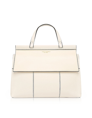 Block-T New Ivory and Royal Navy Leather Top Handle Satchel Bag