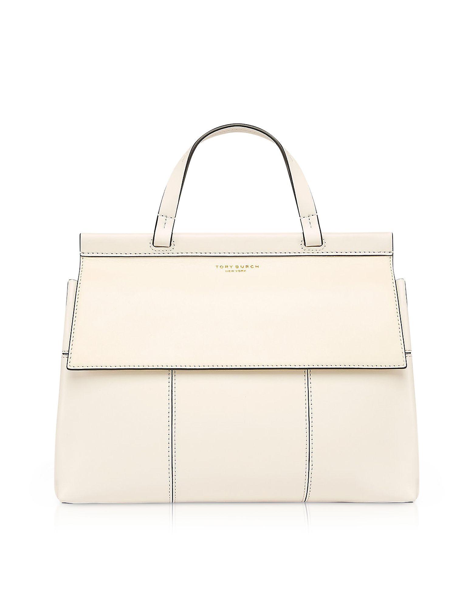Tory Burch Handbags, Block-T New Ivory and Royal Navy Leather Top Handle Satchel Bag