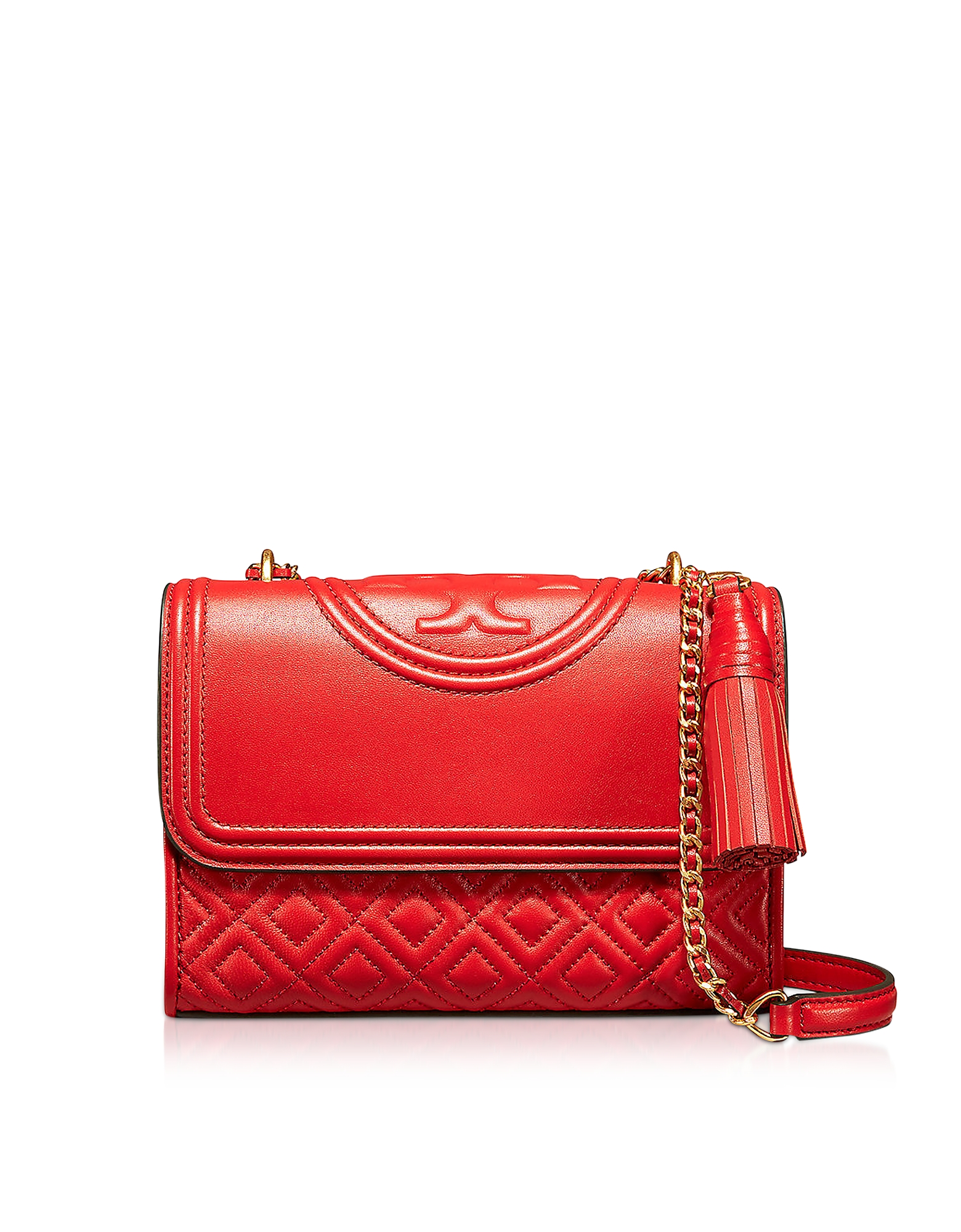 Tory Burch Handbags, Fleming Exotic Red Leather Small Convertible Shoulder Bag