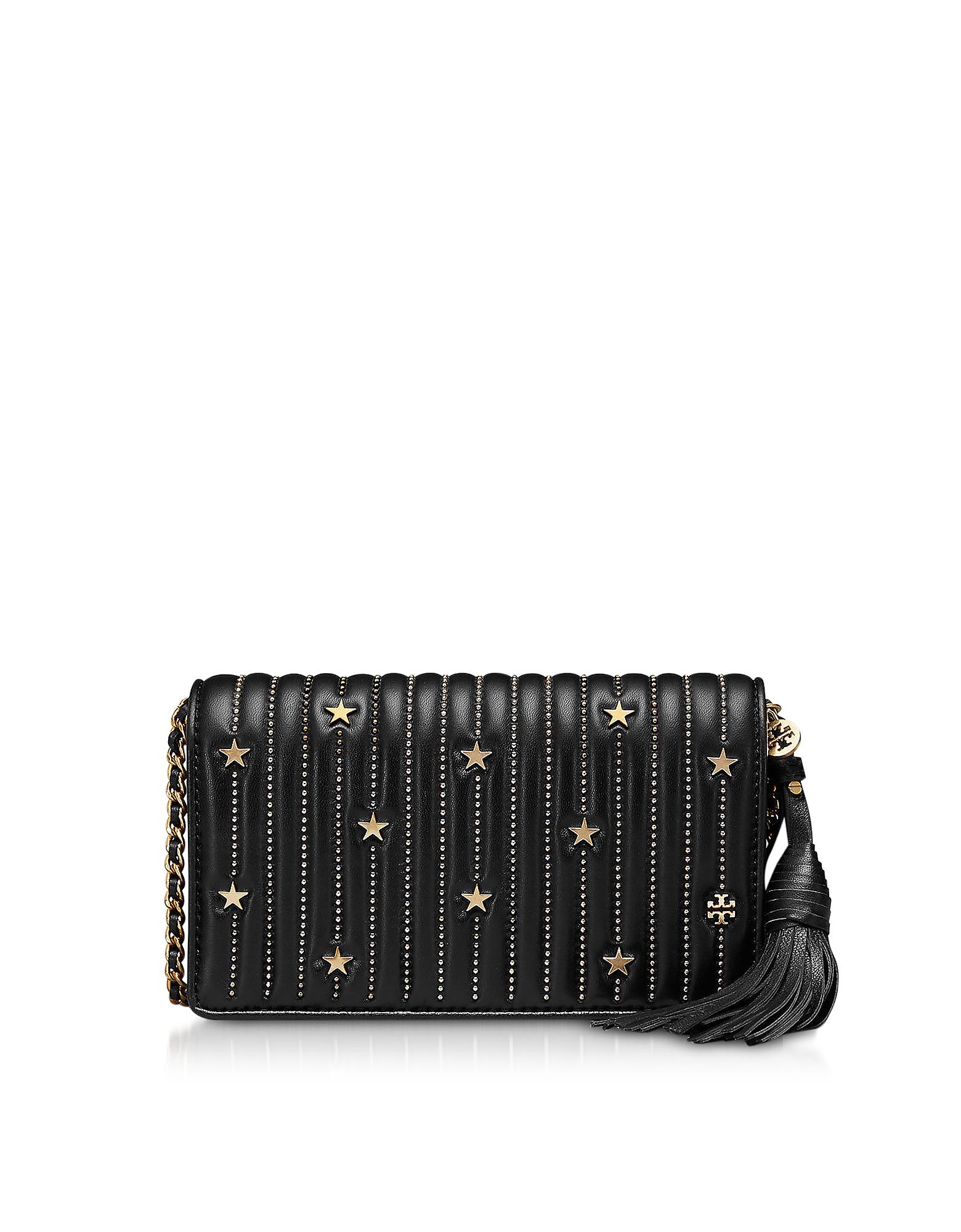 Tory Burch Handbags, Black Star Studs Flat Wallet Crossbody Bag