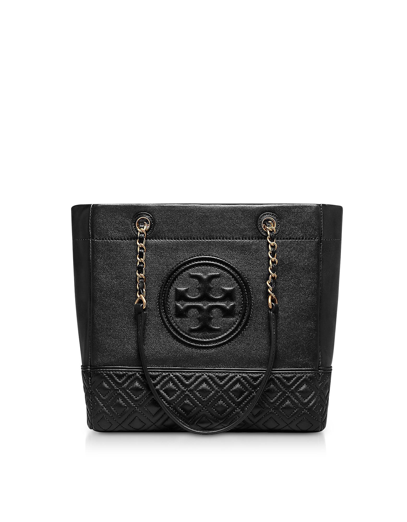Black Leather Fleming Tote Bag